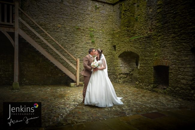 wedding Bride & Groom in Weobely Castle